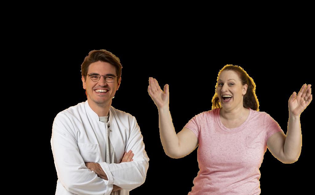 Mann und Frau mit Schriftzug